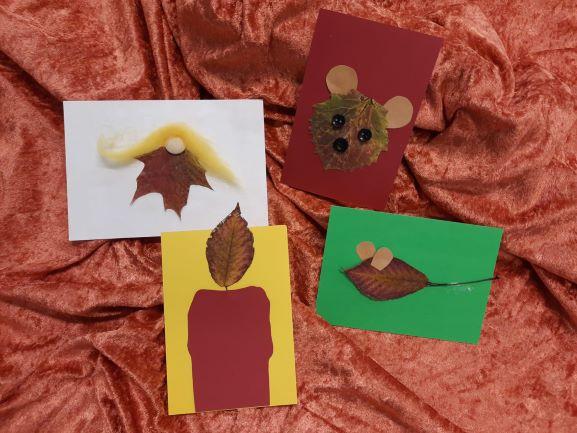 Askartelumalleja syksyn lehdistä: enkeli, kynttilä, hiiri ja nalle.