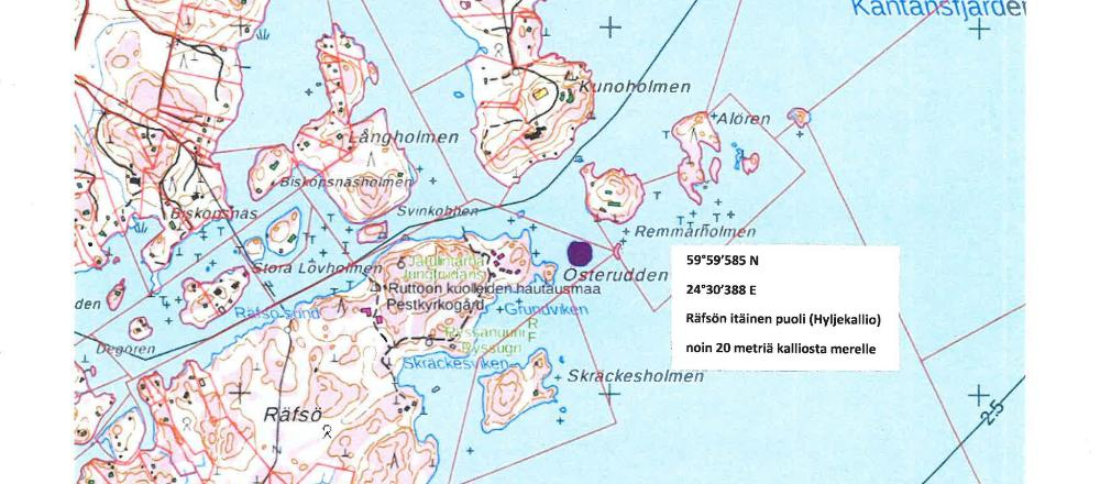 Karttakuva merisirottelualueesta Räfsön saaren edustalla.